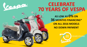 Celebrate 70 Years of Vespa with 0% Financing