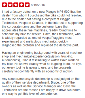 Great Yelp Review - Vespa Orlando
