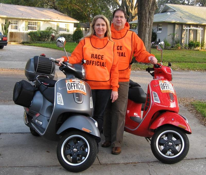 Ultraman 2015 Race Officials on their Vespa GTS 300 Supers